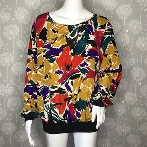 Vintage Rhoda Lee Blouse Size XL Yellow Red Floral